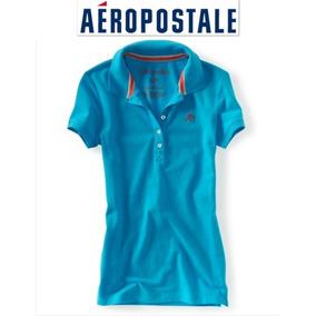 Playera Xs Aeropostale X Chica Polo Azul Mujer Nina Logo Ve!
