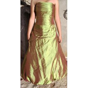 Hermos Vestido Fiesta Verde Tornasol