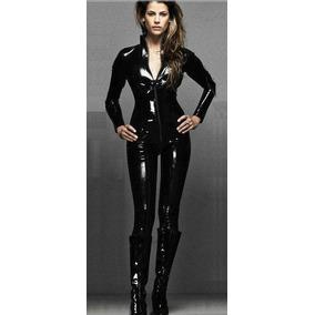 Catsuit Negro Leggings Bodysuit Latex Cuero Piel Completo
