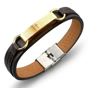 Bracelete Couro Masculino + Oração Pai Nosso + B. Ouro 18k