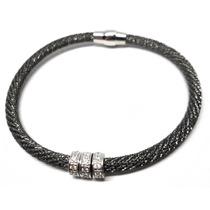Qis-bracelete Italiano Prata 925 Zirconias Rodio Negro