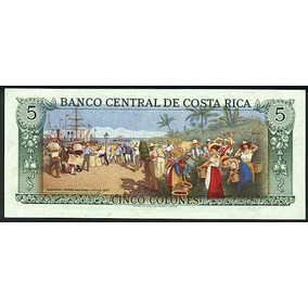 Grr-billete Costa Rica 5 Colones 1989 - 1992 Bello Reverso!!