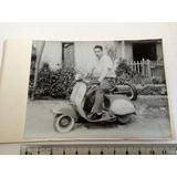 Hombre En Motoneta Rancagua Chile1959 Fotografía Motocicleta