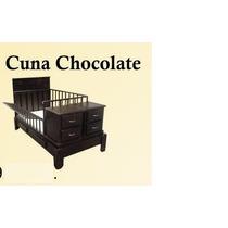 Cuna Con Buros Y Barandales Color Chocolate Y Nat.idd