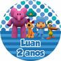 30 Unid Adesivo Redondo Personalizado Latinha Pocoyo Bebê