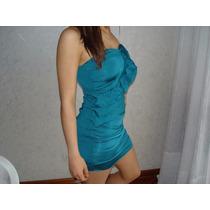 Vestido Corto De Cóctel - Azul Petroleo - Nuevo