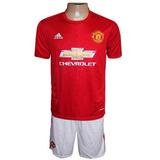 Kit C/7 Conjunto adidas Manchester United Vermelho E Branco