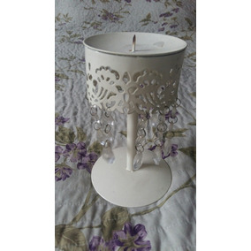 candelabro portavela shabby chic blanco con caireles