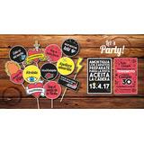 Kit Cumpleaños Temático Personalizado Props Invitaciones Bar