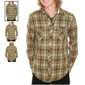 Hot Topic Camisa Atticus Brown And Green Plaid Woven Shirt M