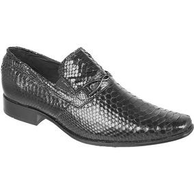 Sapato Exótico Silverado Couro De Piton Cor Preto - 100% Cou