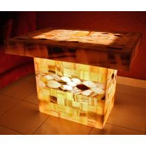 Mesita De Centro Acuario (hecha En Ónix) Con Iluminación