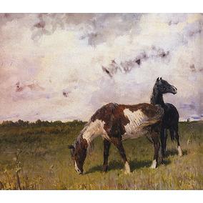 Dois Cavalos No Pasto Campo 1890 Pintor Sokolov Tela Repro