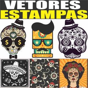 Vetores Estampas Caveiras Mexicana, Skulls, Sublimação Silk