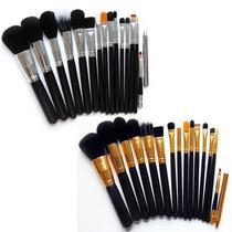 Kit De Pinceis Maquiagem Profissional Preto Com 15 Pinceis.
