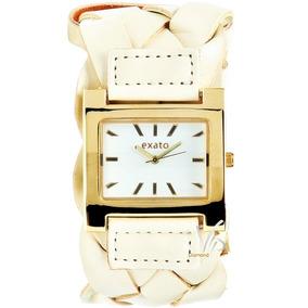 Relógio Feminino Exato Bracelete Dourado Couro Creme Novo
