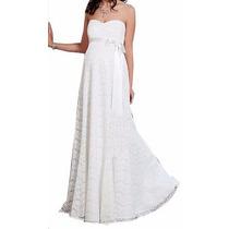 Vestido Longo Noiva Gestante Tomara Caia Solto Faixa Vrl544