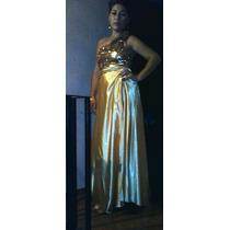 Vestido Noche De Fiesta Dorado Marca Soya