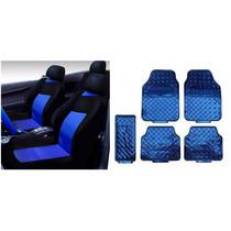 Kit Capa De Banco Automotivo Azul Jogo De Tapete 5 Peça Azul