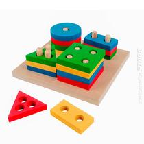 Brinquedo Pedagógico Madeira Prancha Seleção Geométrico