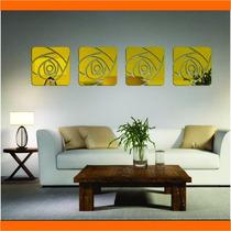 Espelhos Decorativos Dourados Flores Quadradas