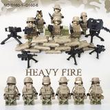 6 Bonecos Do Exército + Dezenas De Armas - Compatível Lego
