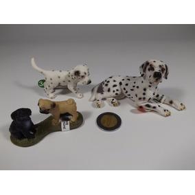 Lote 3 Figuras Schleich Perro Cachorro Dálmata Y Par De Pug