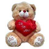 Urso De Pelúcia Grande Lindíssimo Coração Eu Te Amo Caramelo