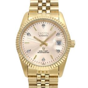 Reloj Croton Con Diamantes, Para Hombre, Acero Inoxi Mn4