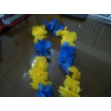 Collar Hawaiano Con Flores De Tela Azul Y Amarillas