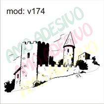 Adesivo V174 Desenho Abstrato Castelo Casarao De Parede