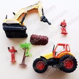 Set Construcción Juguete Máquinas Perforadora + Tractor