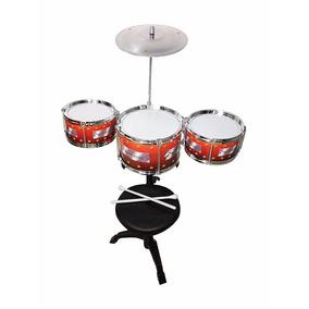 Bateria Infantil Musical C/ Banquinho Tambores Completa