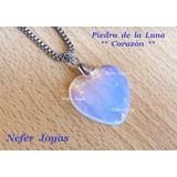 Dije Piedra De La Luna Corazón Y Cadena De Acero Quirúrgico