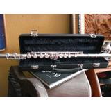 Flauta Plateada Con Estuche