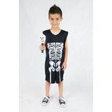 Fantasia Roupa Esqueleto Infantil Halloween Dia Das Bruxas