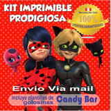 Kit Imprimible Prodigiosa Ladybug Tarjetas + Candy Bar