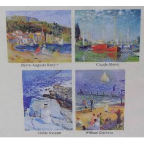 4 Cartão C/ Envelope Arte Impressionismo Monet Renoir Hassam