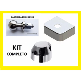 Kit Bola Aço Inox + Capa Inox Reboque + Tomada Fêmea