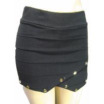 Mini Saia Shorts Assimétrico Em Bandagem Com Apliques