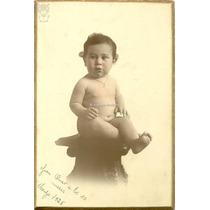 Retrato Estudio 1925 Bebe 10 Meses Foto Coloreada Antigua