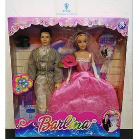 Brinquedo Boneca Barlina Casamento Barbie + Noivo Doll