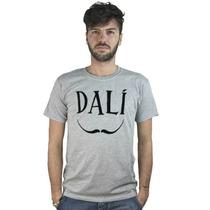 Remera Camiseta Salvador Dalì, Camiseta Gris Con Bigote La