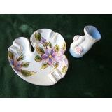 Lote Ceramica-porcelana X 2 (florerito+cenicero)