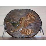 Aguila Tallada En Madera Con Tec De Marqueteria Elioplata