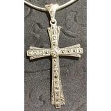 Crucifixo Prata De Lei Marcassita Antigo 6x3,5cm
