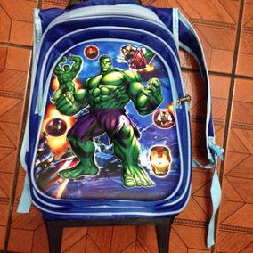 Mochila Infantil Masculina Hulk Com Rodinhas