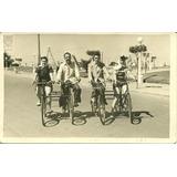 Fotografia Antigua Mar Del Plata 1949 Bicicleta Playa