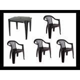 Jogo De Mesa Com 4 Cadeiras Plástica Poltrona Cor Preta Kit