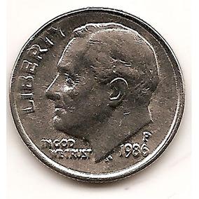 Moneda Estados Unidos One 1 Dime 10 Centavos Año 1986 P
